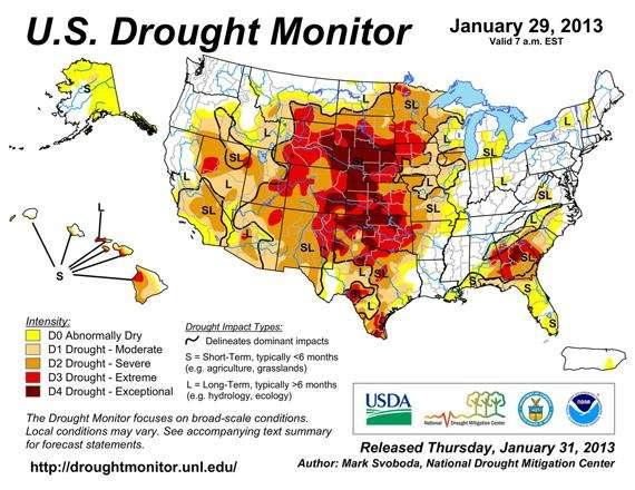 Мониторинг засухи на территории США.
