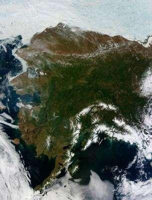 Аляска со спутника, 17 июня 2013 года. © NASA/Jeff Schmaltz/LANCE MODIS Rapid Response Team | Handout via Reuters